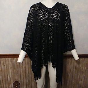 Amazing Oversized Black Knit Poncho OS